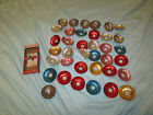 Lot of 37 Old Vintage Christmas Tree Candle Light Reflectors Aluminum Rings Box