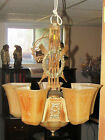 Antique Art Deco Ceiling Light Markel 5 Glass Slip Shades Beauty