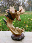 MOOSE FAUX WOOD CARVING COUNTRY COTTAGE CABIN RESIN TABLE DECOR NEW