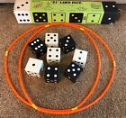 Vintage 21 Yard Lawn Dice Game 8 Big Large Dice Beach Outdoor Picnic