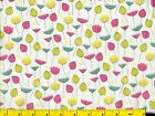 Pink Aqua  Yellow Flowers on White Quilting Fabric by Yard 257