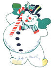 Vintage Christmas Card Ornament Frosty the Snowman Arm  Tongue Move