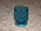 Star Blue Toothpick Holder - rayed spoked bottom