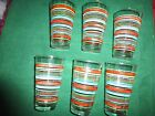 Set of 6 Retro Striped FIESTA Water Highball Glasses 20 Oz Retired Vintage