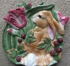 Fitz & Floyd China Blackberry Rabbit Canape Plate or Wall Plaque Easter