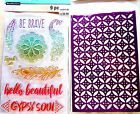 Be Brave Recollections Clear Acrylic Stamp  Stencil Set NEW with Feathers