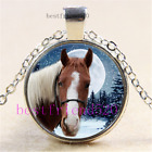 Winter American Horse Cabochon Glass Tibet Silver Chain Pendant NecklaceAC48