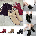 Women Winter Snow Buckles Low Heel Ankle Belt Chunky Fashiom Martin Boots Shoes