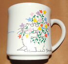Vintage Sandra BOYNTON Wishing You All The Best CAT Holding Flowers Kitty MUG