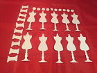 Tim Holtz Die Cuts Sewing Room  Set of 10  White Cardstock  Mannequin