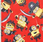 Despicable Me Pirate Minions on Red 58 inch Fleece Fabric by the YARD