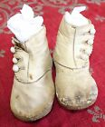 Antique Childrens Girls Victorian High Button White Leather Shoes