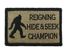 Bigfoot Reigning Hide and Seek Champion Hook  Loop Morale Tags Patch CB