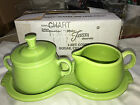 Fiesta SUGAR with Lid and CREAMER 4 Piece TRAY SET --New Never Used CHARTREUSE