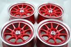 15 red Wheels Prelude Civic Accord Integra Cooper Forenza Ion 4x100 4x1143 Rims