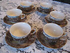 Vintage JOHNSON BROTHERS Set of 6 Cups and 7 Saucers OLDE ENGLISH COUNTRYSIDE