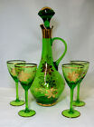 Vintage Bohemian Glass Wine Decanter Green Gold 4 Glasses Stopper GVC