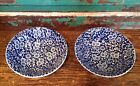 Two Queens China CALICO Chintz BLUE Cereal Bowls, Made In England