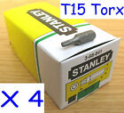 4 x Stanley T15 (No Hole) Tamper Proof Torx 1/4