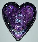 MINTY ROBERT HELD ART GLASS SIGNED IRIDESCENT AMETHYST PURPLE HEART PAPERWEIGHT