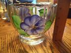 Vintage Anchor Mark Small Clear Glass BOWL w/ painted Flowers