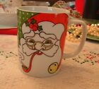 Vintage Fitz & Floyd Variations Santa Noel Holly Christmas Cup /Mug 1979 Japan
