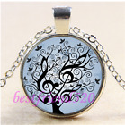 Music Tree of Lfe Cabochon Glass Tibet Silver Chain Pendant NecklaceCD5