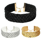 Pro Women Wide Choker Collar Sequins Chain Necklace Gothic Punk Jewelry Pretty