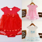 Born Baby Cotton Bow Rompers Dress Summer Kids Infant Girls Clothes Jumpsuit TO