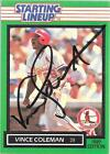1989 Starting Lineup - VINCE COLEMAN - Hand Signed Autograph Card - CARDINALS