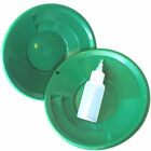 2 Pk 8 Green Gold Pans with Dual Riffles  Bottle Snuffer Mining Panning Kit