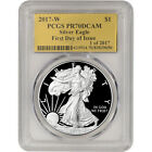 2017 W American Silver Eagle Proof PCGS PR70 DCAM First Day Issue Gold Foil