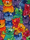 Cotton Fabric Novelty Print 1 4 Yard Crazy Cats Bold Bright Colors