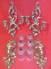 2 Pairs Homco & Syroco MCM Hollywood Regency Gold Ornate Sconces w/ Votive Glass