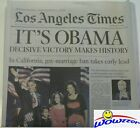 Los Angeles Times November 52008 Newspaper ITS OBAMA Elected President NEW