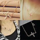 Fashion Gold Silver Women Heart Beat Pendant Necklace Stainless Steel with Chain