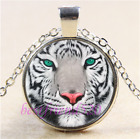 White Tiger Face Photo Cabochon Glass Tibet Silver Chain Pendant NecklaceB3