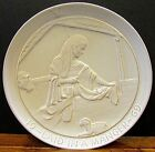 Old 1969 Frankoma pottery signed Frank Manger Christmas plate Mary Jesus FREE SH