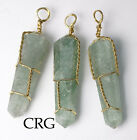 Gold Plated Wire Wrapped Double Term Green Aventurine Point Pendant WW26DG