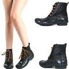 WOMENS WATERPROOF DUCK WELLIES SNOW RAIN WINTER ANKLE BOOT BOOTIES LACE UP BLACK