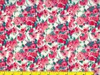 Red  Pink Watercolor Open Roses Flowers Quilting Fabric by Yard 263