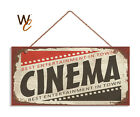 Retro CINEMA Sign Movie Night Movie Theater Decor Rustic Style 5 x 10 Sign