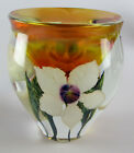 David Lotton Glass Small Clear Sunset Vase with White Flowers S