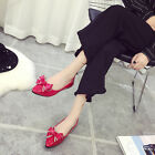 Women Bow Pointed Toe Bright Leather Flat Shoes Butterfly knot Solid Work Shoes