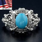 Turquoise 925 Solid Sterling Silver Art Deco Filigree Ring jewelry Sz 6