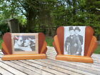 MATCHING PAIR OF ART DECO 1930s WOOD/GLASS FREE STANDING PICTURE/PHOTO FRAMES.