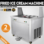 1600W Double Pans Fried Ice Cream Maker Machine 5 Buckets With 2 Compressors