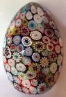 Vintage Millefiori Murano Glass Paperweight Egg w Closepack Acid Etched Canes