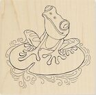 PENPATTERN FROG Rubber Stamp Q214 Stampendous! Brand NEW! lilypad water