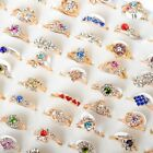 5 10 20 30pcs Wholesale Mixed Lots Crystal Jewelry Resale Womens Band Rings